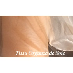 Tissu organza de Soie au Mètre en couleur beige sable.