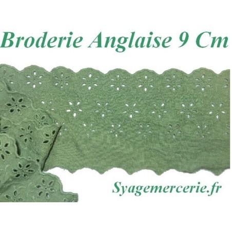 Broderie Anglaise Coton au Mètre en 9 cm Vert à Coudre