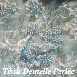 Dentelle Perlée Au Mètre Turquoise En Grande Largeur, Pour Caftan Et Cerémonie.