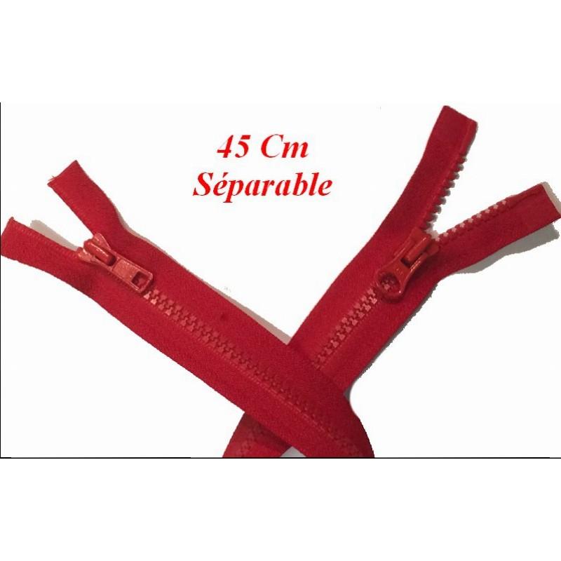 Zip Fermeture Eclair à Glissière en Maille Injecté à Coudre en 45 cm Marro,