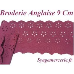 Broderie Anglaise Coton au Mètre en 9 cm Bordeaux à Coudre