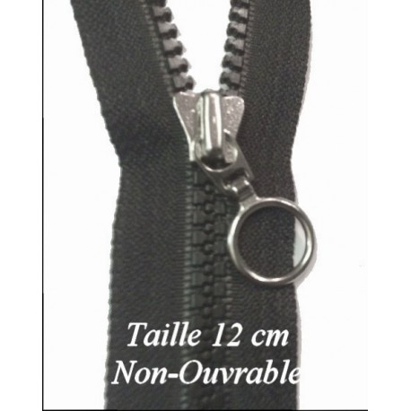 Zip Fermeture Eclair à Glissière en Maille Injecté à Coudre en12 cm non-séparable Noir en curseur Métal anneaux.