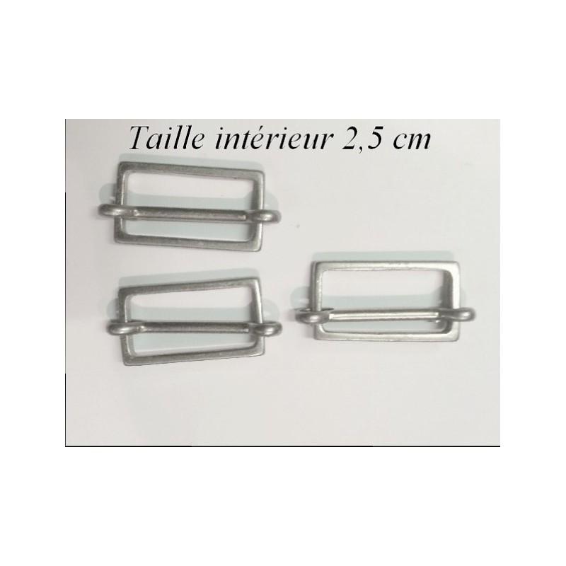Boucle Coullissante en 2,5 cm intérieur à coudre en Nickel Argent Mat