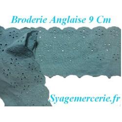 Broderie Anglaise Coton au Mètre Couleur Canard en 9 cm à coudre.