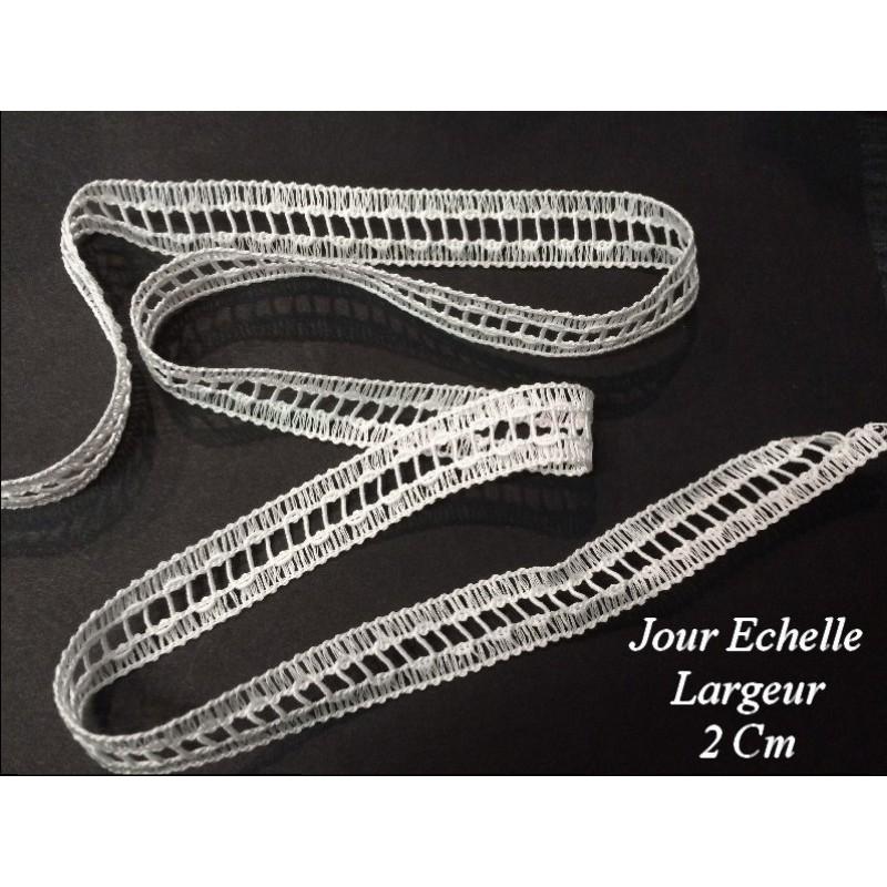 Jour Echelle en ruban de 2 cm Blanc, en fil et belle finition.ini à coudre