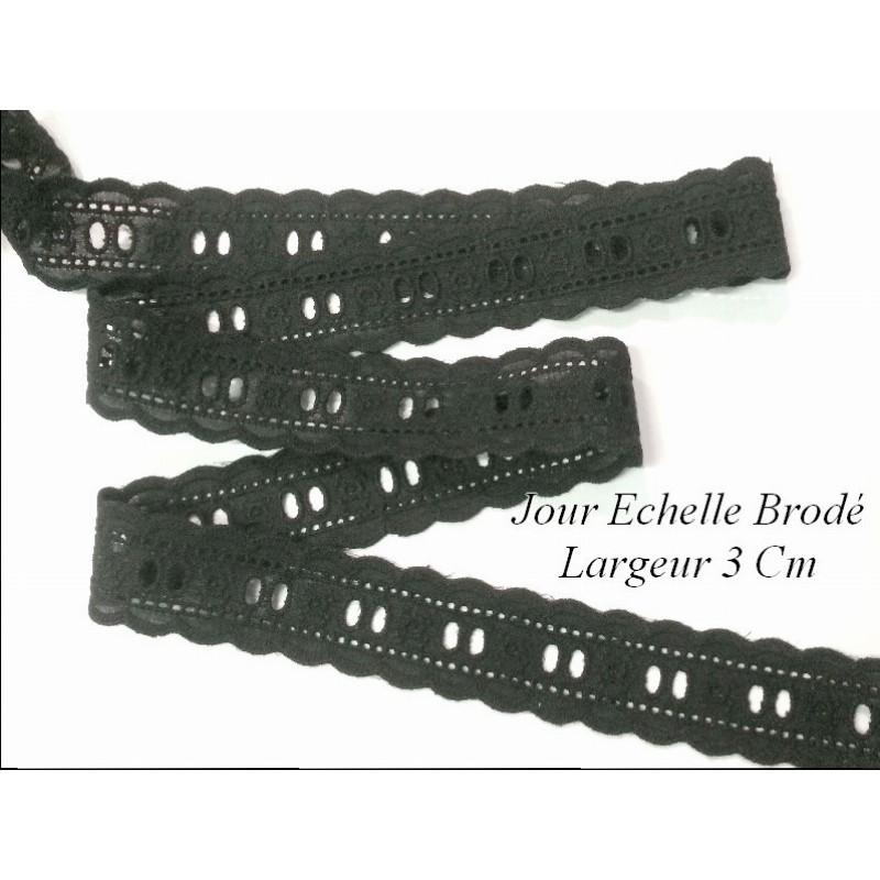 Jour Echelle en Broderie Anglaise en 3 cm Noir, à Coudre.