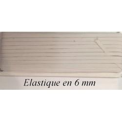 Elastique Plat 6 mm Noir ou Blanc X 50 Mètres, A Coudre