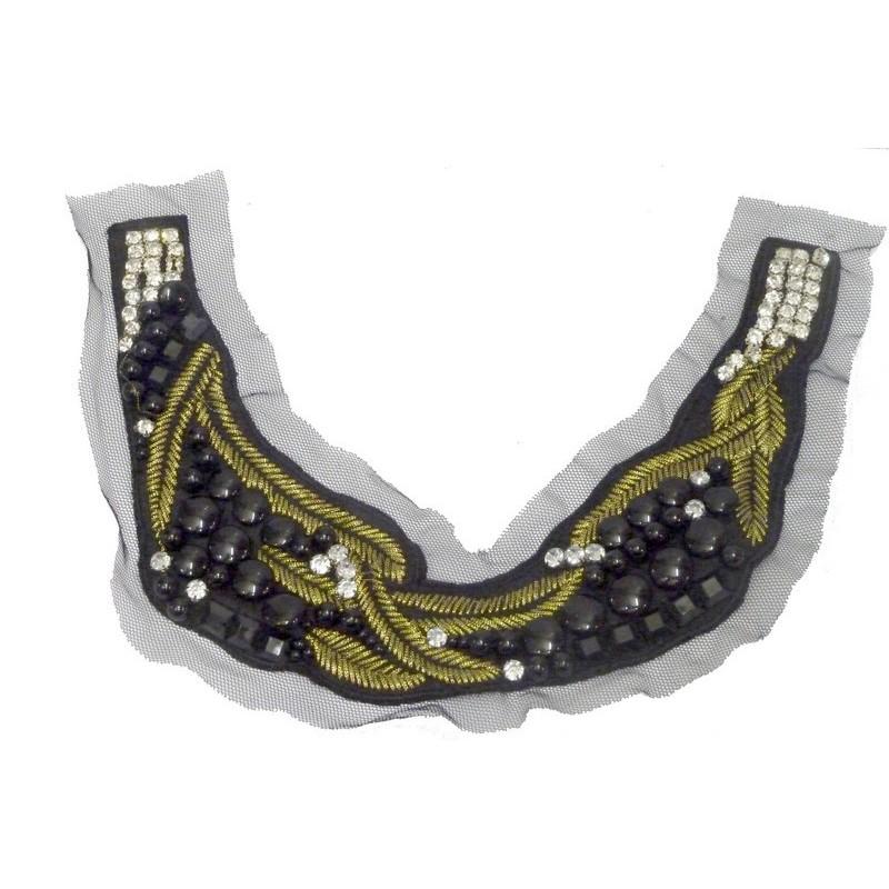 Col strass encolure à coudre en pierre noir filé or