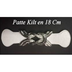 Patte Kilt en Simili Cuir avec Boucle Argent à Coudre en 18 Cm Blanc.