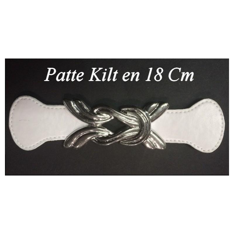 Patte Kilt en Simili Cuir avec Boucle Argent à Coudre en 4,5 Cm Noir.