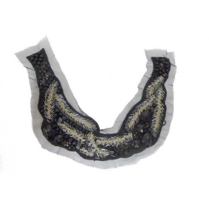 col encolure applique à coudre en pierre noir et et chainette argent