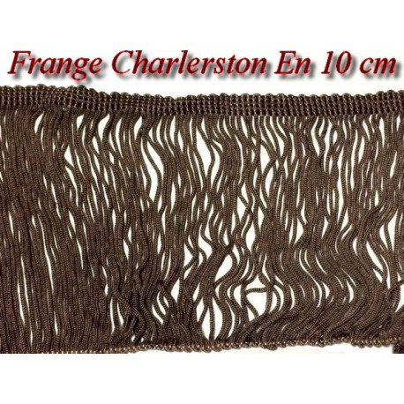 Frange Charleston Rayonne En 10 Cm Marron Au Mètre A Coudre, Pour Loisirs Créatifs.