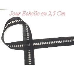 Jour Echelle En Broderie Anglaise 2,5 Cm Noir, A Coudre, Pour Loisirs Créatifs.