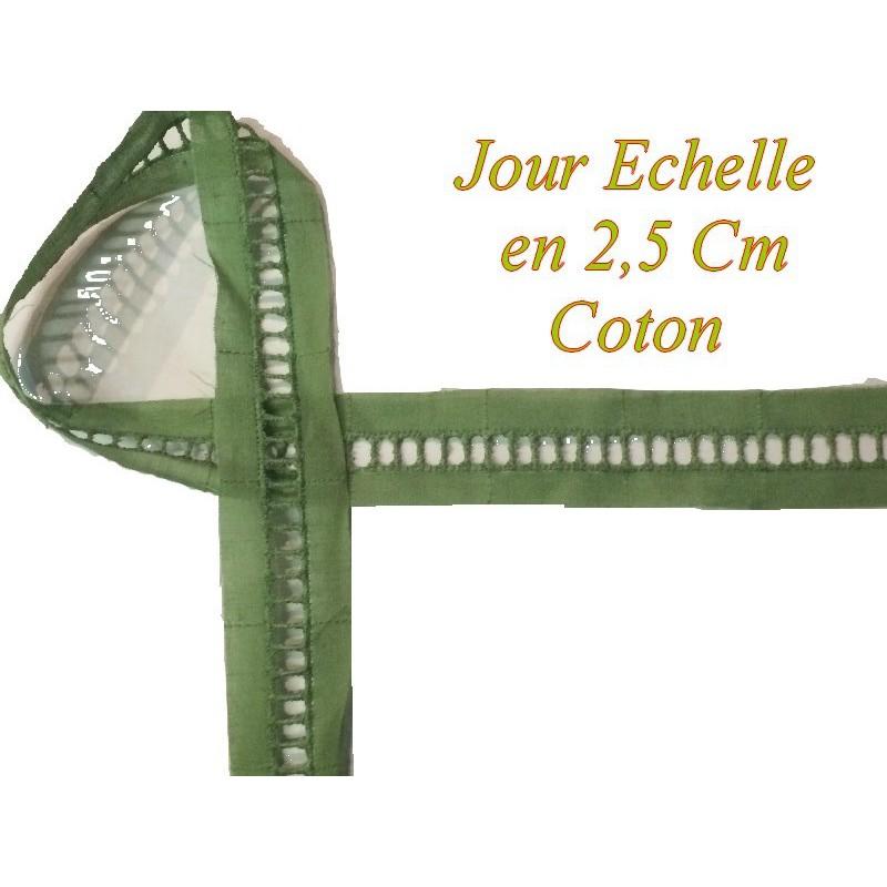Jour Echelle en Broderie Anglaise 2,5 cm Vert, à coudre, pour Loisirs Créatifs.
