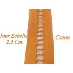 Jour Echelle en Broderie Anglaise 2,5 cm Orange, à coudre, pour Loisirs Créatifs.