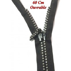 Zip Strass en 60 Cm Noir, Fermeture Eclair Strass Ouvrable A Coudre. Customisations.