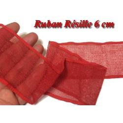 Ruban Résille au Mètre en 6 cm Rouge à Coudre, pour Loisirs Créatifs