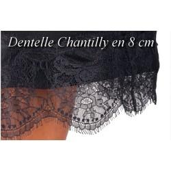 Dentelle Chantilly Couture En 8 Cm A Coudre Noir.