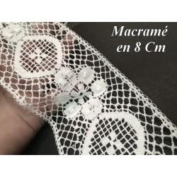 Galon Macramé En 8 cm Blanc Motif Fleur, A Coudre ,Loisirs Créatifs