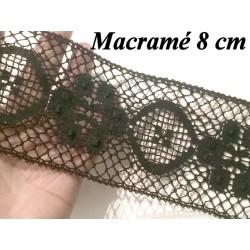 Galon Macramé en 8 cm NOir Motif Fleur, A Coudre ,Loisirs Créatifs