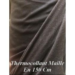 Thermocollant au Mètre, En Maille jersey Collante Noir en 1 Mètre 60 de Large