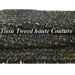 """Tissu Style """"Chanel"""" Tweed Noir Au Mètre En Noir Et Gris Haute Couture."""