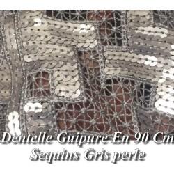 Dentelle Guipure au Mètre en 90 cm de Large gris Perle pour Caftan et Cérémonie.