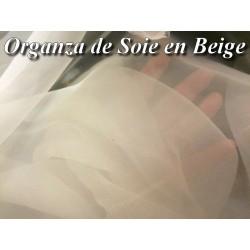 Tissu Organza De Soie Beige Au Mètre Couture.