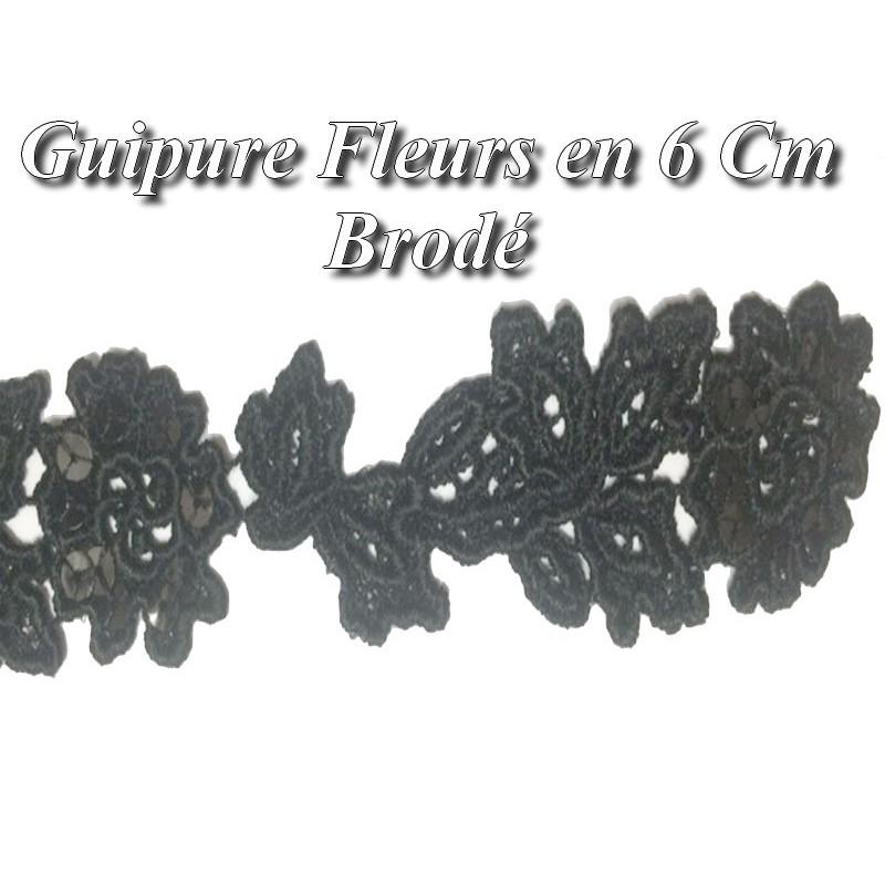 Guipure Fleurs Au Mètre en 6 cm Noir Orné de Sequins.