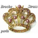 Broche En Forme de Couronne en Strass et Perles Rose Et Customisations.