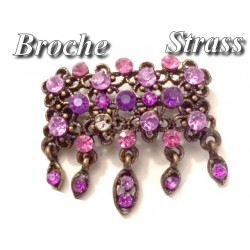 Broche En Strass Violet et Fuchia sur un Support Bronze Pour Customisations.