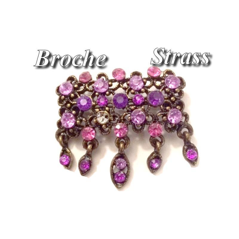 Broche En Strass Violet et Fuchia sur un Support Bronze Pour Customisations.