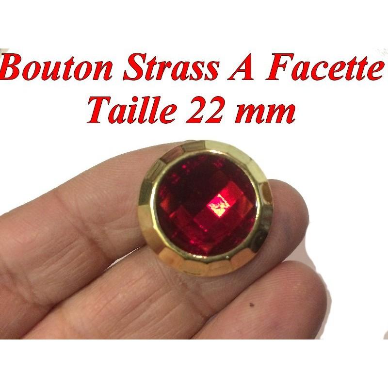 Bouton Strass Rouge A Facette en Taille 22 mm Cerlé Doré Or à Coudre.