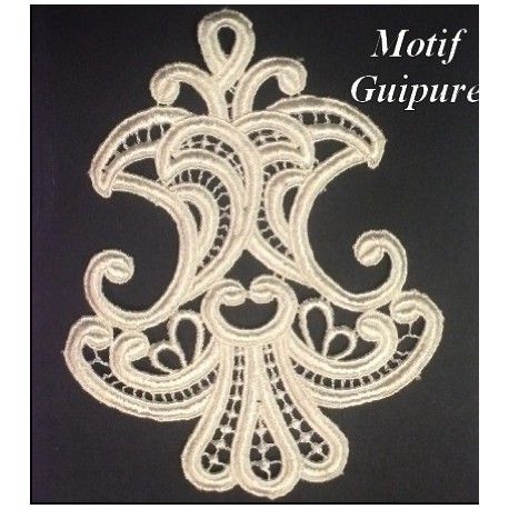 Motif Patch En Guipure Dentelle Brodé En Ecru A Coudre Customisations.