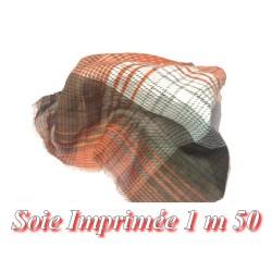 Tissu Coton Soie Au mètre en Imprimé Orange et Choco.