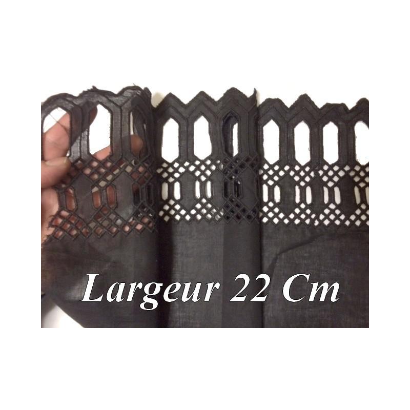 Broderie Anglaise Coton au Mètre en 22 Noir A Coudre.