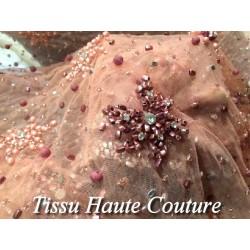 Tissu Haute Couture Pérlé Sur Résille Saumon Pour Caftans Et Cérémonies.