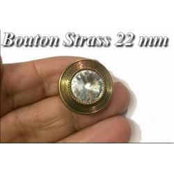 Bouton Strass Cristal A Facette en Taille 22 mm Cerlé Doré Bronze Or à Coudre.