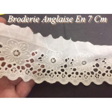 Broderie Anglaise Coton au Mètre en 7 cm Blanche A Coudre.