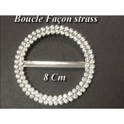 Boucle Ceinture Facon Strass Argent En 8 Cm A Coudre.