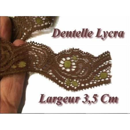 Dentelle Brodé Lycra En 3.5 Cm Choco Et Anis A coudre pour Loisirs Créatifs