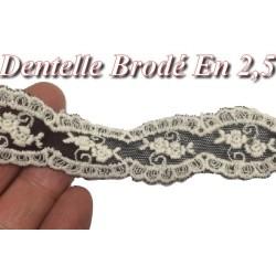 Dentelle Brodé En Fleurs Blanche Sur Tulle Noir En 2,5 Cm.