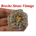 Broche En Strass Parme et Moutarde sur un Support Argent Pour Customisations.