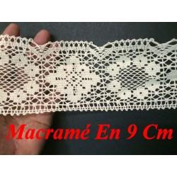 Dentelle Au Crochet Macramé Au Mètre En 9 Cm Ecru Pour Loisirs Créatifs.