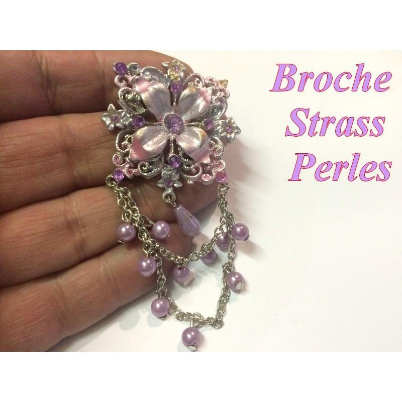 Broche En Strass Et Perle En Parme Pour Customisations.