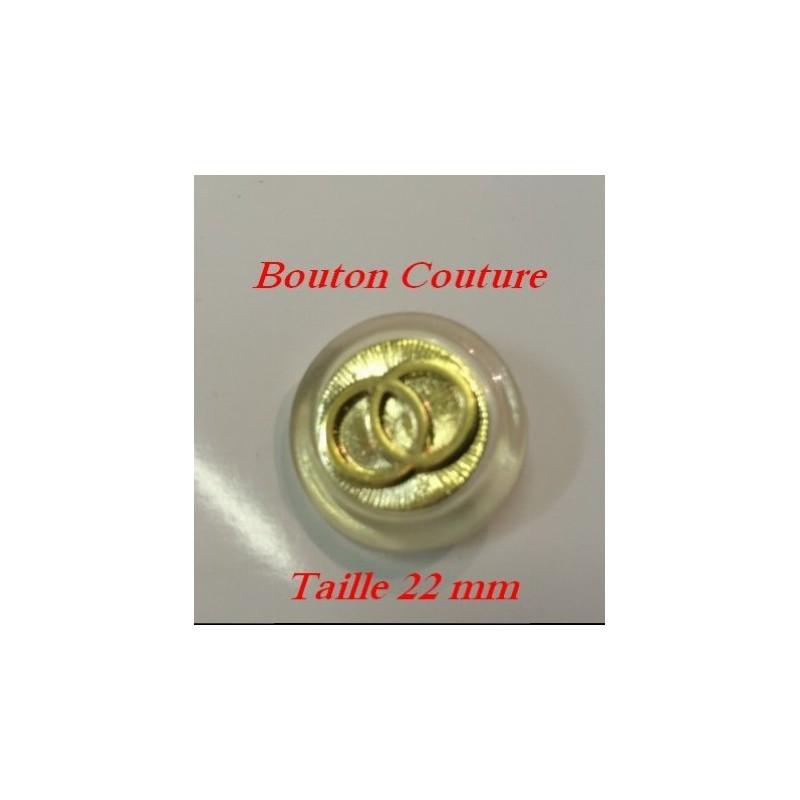 Bouton Doré à Teindre transparent en taille 22 mm à Coudre.