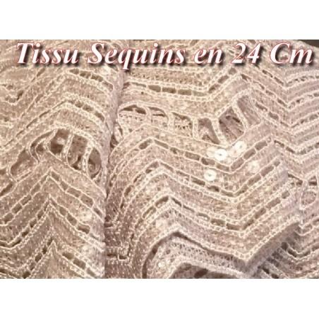 Tissu En Dentelle Guipure Ajouré En Sequins Transparents En 24 cm Couleur Vieux Rose