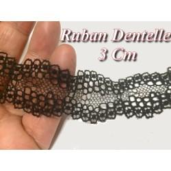 Dentelle Ruban Lycra en 3 Cm Noir A Coudre.