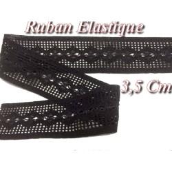 Ruban Lycra Elastique Au Mètre En 3,5 Cm Noir Pour Lingerie et Customisation.