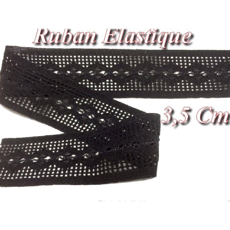 Ruban élastique frou-frou au mètre en 3,5cm noir pour lingerie et customisation.